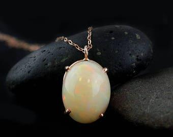 ON SALE Australian Opal Necklace - Oval Opal Necklace - 10Kt Rose Gold
