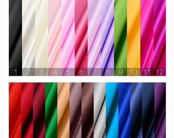 """Stretchy silk satin fabric, 25 solid colors, 55"""" 16mm wide silk satin fabric for dresses, skirts, shirts, pajamas, by the yard"""