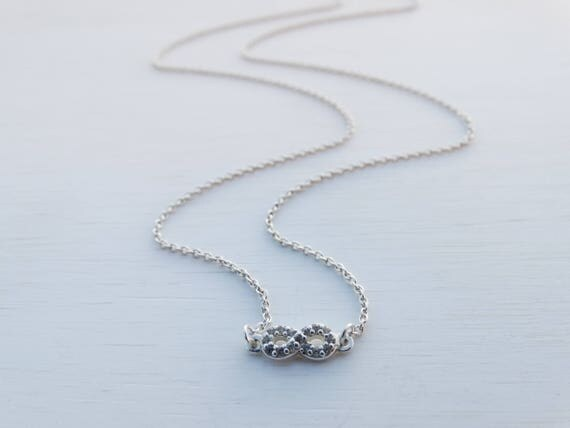 Tiny Silver Infinity Necklace, Cubic Zirconia & Sterling Silver