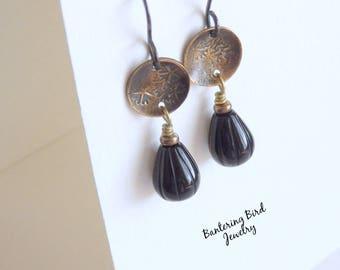 Little Black Earrings, Onyx Tear Drop with Golden Brass Discs, Antiqued