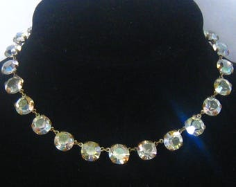 "CLEARANCE Art Deco AB Crystal Rhinestone Link Necklace. 24 Lrg (10 mm) gems in Open Brass Settings. 6-gem Extender Chain.  16.25"" Long Max."