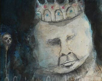 "Original raw expression contemporary art brut Mixed Media Painting on paper - ""The Little King"""