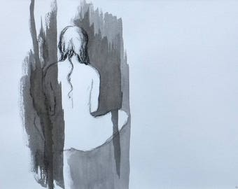 Drawing, Seated woman