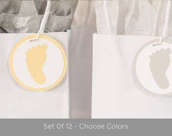 Footprint Baby Shower Tags - Set of 12 - Party Favor Tags, Footprint Baby Shower Decorations