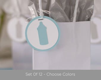 Bottle Favor Tags, Set of 12, Baby Shower Decoration, Baby Shower Tags
