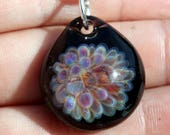 Blown Glass Pendant, Purple Glass Implosion, Lampwork Jewlery, Borosilicate glass