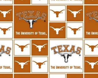 University of Texas Cotton Fabric-Texas Longhorns 100% Cotton Quilting Fabric-Sold by the Yard-Geometric Design