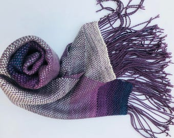 "Purple Hand Woven Scarf - ""Violet's Dream"" - Everyday Scarf - Gift for Her - Ombre Grey Purple Blue - Large handwoven scarf - Twisted Fringe"