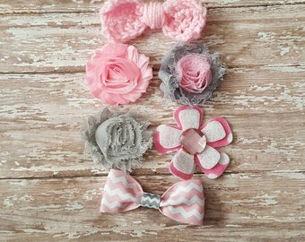 Pink and Grey Hair Clip Set