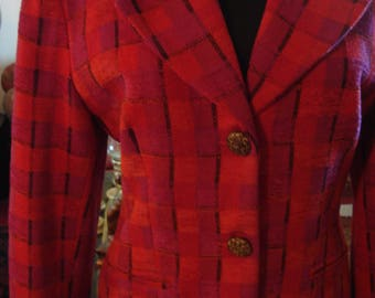 Vintage1970s Fuschia Pink and Red Plaid Jacket