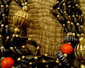 Vintage 1970 Smokey Black and Gold with Red Accent Beaded Necklace