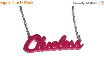 Clueless Necklace, 90s, Hot Pink Cute Quirky Word, Laser Cut Pink Pendant, Perspex