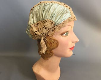 1910s boudoir cap with tassels