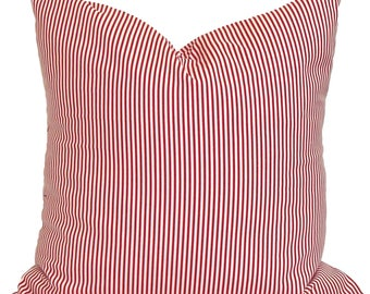RED CHRISTMAS PILLOW Cover, Holiday Decorative Pillow,Red Pillows, Red Pillow Covers,All Sizes, Ticking Stripe Pillow,Christmas Pillow, Sham