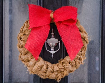 Cuber Monday Sale Christmas Wreath, Christmas Front Door Wreath, Rustic Burlap Wreath, Hessian Wreath,  Holiday Door Wreath, Red Bow Wreath