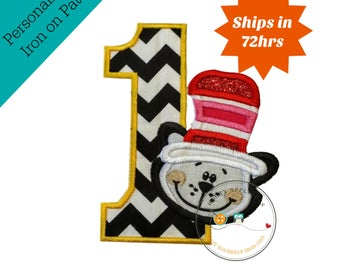 Cat in hat, birthday number 1, chevron number, first birthday, yellow, red, white, iron on applique, birthday patch, personalize, embellish