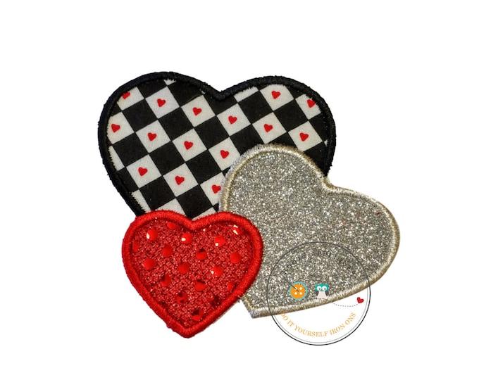 Valentine heart trio iron on applique, Glitter emboridered kids valentine iron on patch, red sequin iron on heart applique, heart embellish