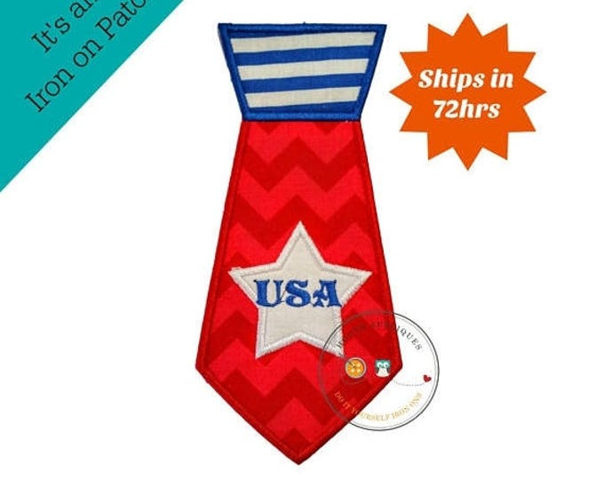 ON SALE NOW Shirt tie iron on applique, red white and blue, 4th of July embroidered fabric iron on patch, large patriotic shirt tie iron on