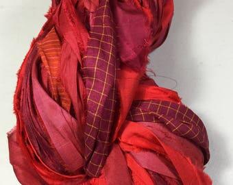 Recycled Sari Silk Ribbon 269 Multi Shaded Reds Tassel Supply Jewelry Dreamcatcher Summer Garland Fair Trade Weave Fiber Art Supply