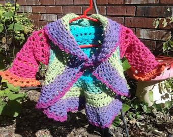 LAST MINUTE GIFT Sale Rainbow Princess Crochet Mandala Baby Toddler Coat Circular Circle Jacket Cardigan Shrug Blanket Ready To Ship