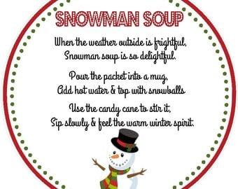 Snowman Soup Favor Tag - Printable File - Instant Download / Snowman Soup Tag / Snowman Soup Printable / Snowman Soup Download