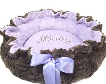 Dog Bed, Pet Bed, Personalized Dog Bed, Lavender and Gray Minky Dog Bed, Small Size