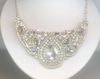 Rhinestone Statement Necklace- Rhinestones & Pearl Bridal Necklace-Wedding Necklace-Swarovski Necklace-Bridal Jewelry-Pear Rhinestone Bib