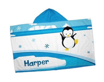 """Personalized Hooded Towel for Kids - Arctic Animal Winter Ice Snow Scene, 24"""" x 42"""" Hooded Beach Towel"""