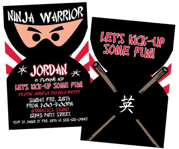 Ninja Invitations Boys Birthday Karate