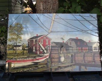 George Nathan Painting Silkscreen Art Clipper Ship Colonial Harbor Dock Scene City On Wood Board Vintage Nautical #2