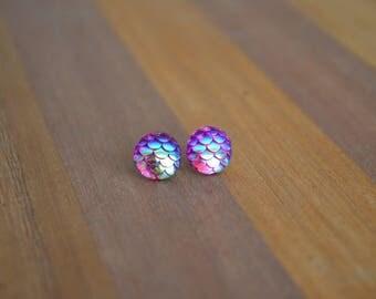 Pink Iridescent Mermaid Earrings