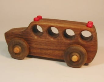 Heirloom-Quality Hardwood Toy School Bus