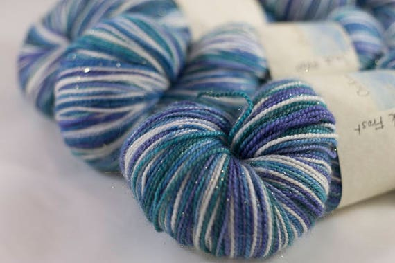 Self Striping Sparkle Sock Yarn /  Jack Frost Colorway / Christmas Colorway / Superwash Merino and Nylon Fingering