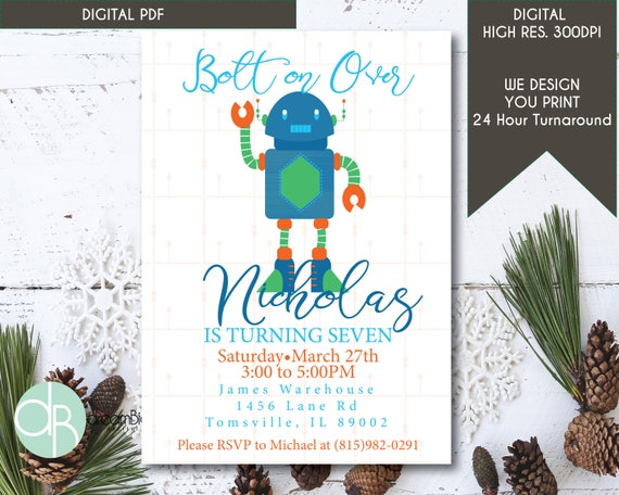 Robot party invitation robot digital invitation robot birthday il570xn filmwisefo Gallery