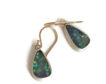 Australian Opal Earrings  Wires 14K , Boulder Opal Drop  Earrings, Blue Green Gemstone Drops,   Artisan Handmade by Sheri Beryl