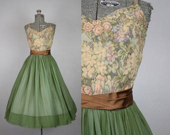 1950's Green and Brown Chiffon Party Dress / Size Small