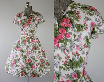 1950's Cotton Pink Floral Day Dress / Size Large / XLarge