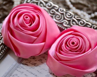 "3"" XLarge Satin Fabric Roses, Rolled Rosettes, Hot Pink Satin Rolled Rosettes, Satin Roses, Rolled Satin Roses, Satin Flowers"