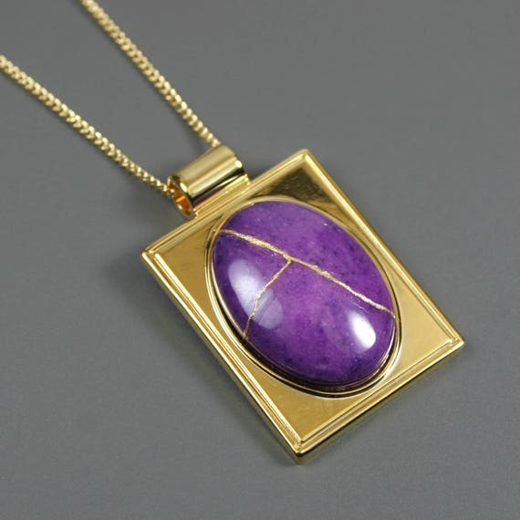 Kintsugi (kintsukuroi) purple dolomite stone cabochon with gold repair in a rectangular gold plated setting on gold chain - OOAK