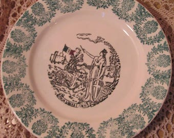Antique Italian Design Plate, Italia Libera E. Forte, Woman and Lion