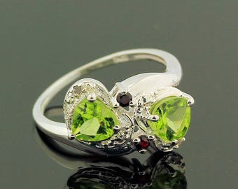 Exquisite Peridot Topaz Ring // 925 Sterling Silver // Ring Size 6.5 // Handmade Jewelry