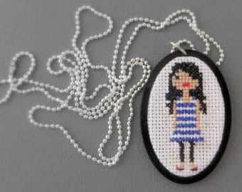 Girl, pixel cross stitch Embroidery necklace cabochon black plexiglass, cross stitch, minimalist, lace, antique, vintage