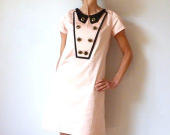 Satine dress of powder pink cotton