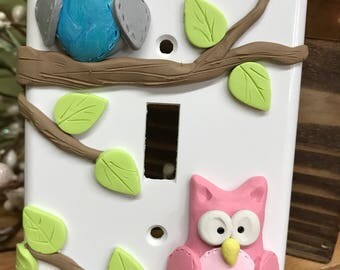 Owl Switch Plate Cover, Pair of Owls, 2 Owl Single Switch Plate, Owl Decor, Single Light Switch