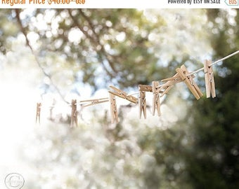 ON SALE Laundry Room, Laundry Room Decor, Clothesline and Clothespins, Fine Art Photography, Country Life, Laundry Line Art Print
