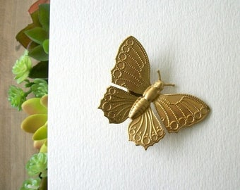 SUMMER SALE Gold Color Butterfly Hair Clip Large Gold Toned Butterfly Design Simple Natural Vintage Style Woodland