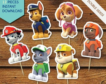 Paw Patrol Cupcake Toppers, Paw Patrol Centerpiece, Paw Patrol Cake Toppers, Paw Patrol, Party Decor, Chase, Skye, Marshall, Rubble, Rocky