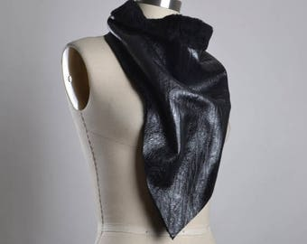 ON SALE OOAK Leather Scarf - Black Leather Scarf - Leather Scarf - Unisex Scarves - Men's Scarf - Leather Accessories