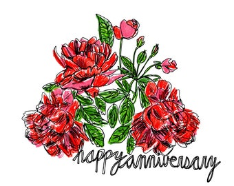 Anniversary Card, Floral Card, Greeting Card, Illustrated Card, Blank Note Card