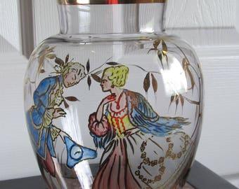 50 % off Vintage Ruffled gold enameled crystal vase, handpainted